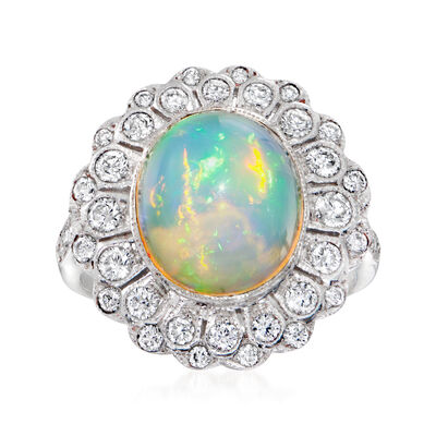 C. 2000 Vintage Opal and .85 ct. t.w. Diamond Ring in 18kt White Gold