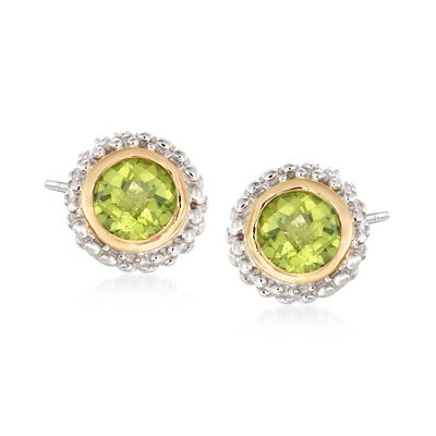 Phillip Gavriel .90 ct. t.w. Peridot Stud Earrings in Sterling Silver and 18kt Gold