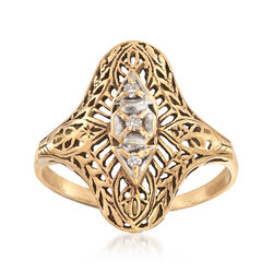C. 1950 Vintage Filigree Ring With Diamond Accents in 10kt Yellow Gold, , default
