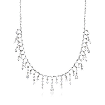 C. 1980 Vintage 3.50 ct. t.w. Diamond Multi-Drop Necklace in 18kt White Gold