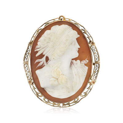 C. 1950 Vintage Pink Shell Cameo Pin/Pendant in Gold Plate
