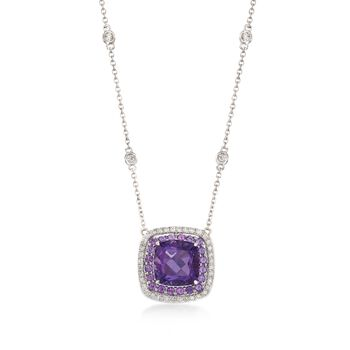 """Gregg Ruth 3.20 Carat Total Weight Amethyst and .27 Carat Total Weight Diamond Necklace in 18-Karat White Gold. 18"""", , default"""