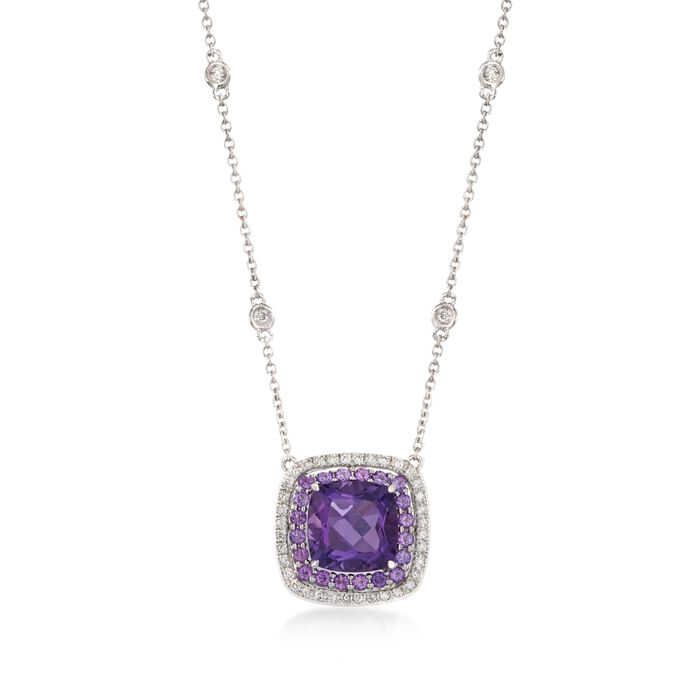 "Gregg Ruth 3.20 Carat Total Weight Amethyst and .27 Carat Total Weight Diamond Necklace in 18-Karat White Gold. 18"", , default"