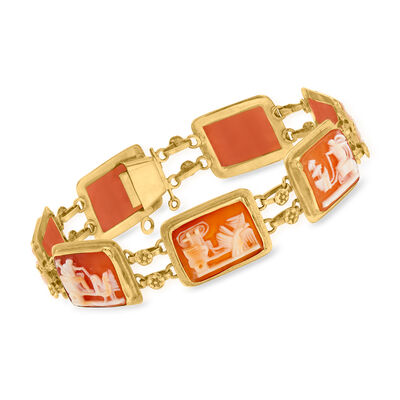 C. 1980 Vintage Pink Shell Chariot Cameo Bracelet in 18kt Yellow Gold
