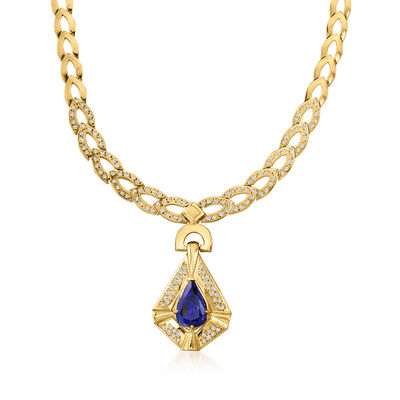 C. 1980 Vintage 7.98 Carat Tanzanite Necklace with 2.00 ct. t.w. Diamonds in 14kt Yellow Gold