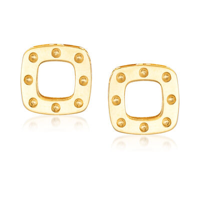 "Roberto Coin ""Pois Moi"" 18kt Yellow Gold Square Earrings, , default"