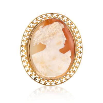 C. 1970 Vintage Carved Shell Cameo Pin in 10kt Yellow Gold, , default