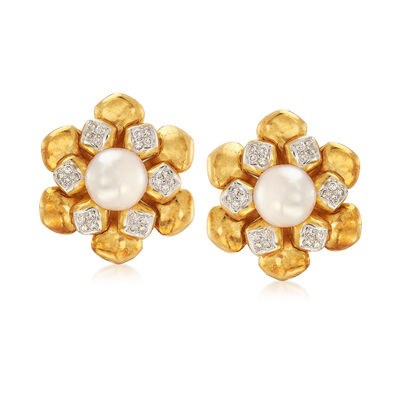 C. 1980 Vintage 9mm Cultured Pearl and .75 ct. t.w. Diamond Flower Clip-On Earrings in 18kt Yellow Gold, , default