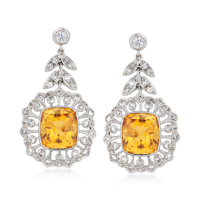 C. 1980 Vintage 11.21 ct. t.w. Citrine and 1.11 ct. t.w. Diamond Floral Drop Earrings in 18kt White Gold