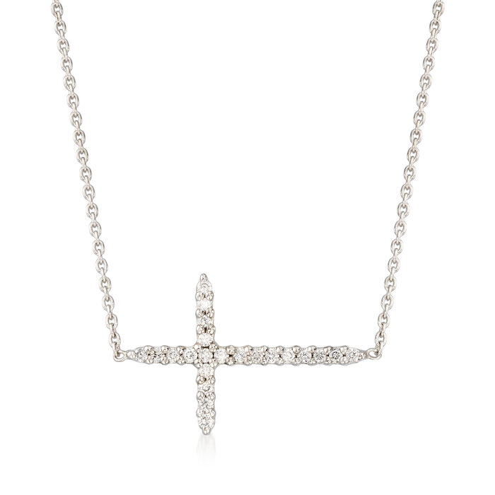"Roberto Coin .10 ct. t.w. Diamond Sideways Cross Necklace in 18kt White Gold. 16"", , default"