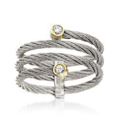 "ALOR ""Classique"" Gray Cable Coil Ring With Diamond Accents and 18kt Yellow Gold, , default"