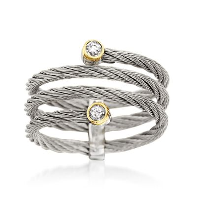 """ALOR """"Classique"""" Gray Cable Coil Ring With Diamond Accents and 18kt Yellow Gold, , default"""