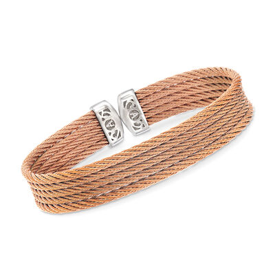 "ALOR ""Classique"" Rose Multi-Strand Stainless Steel Cable Cuff, , default"
