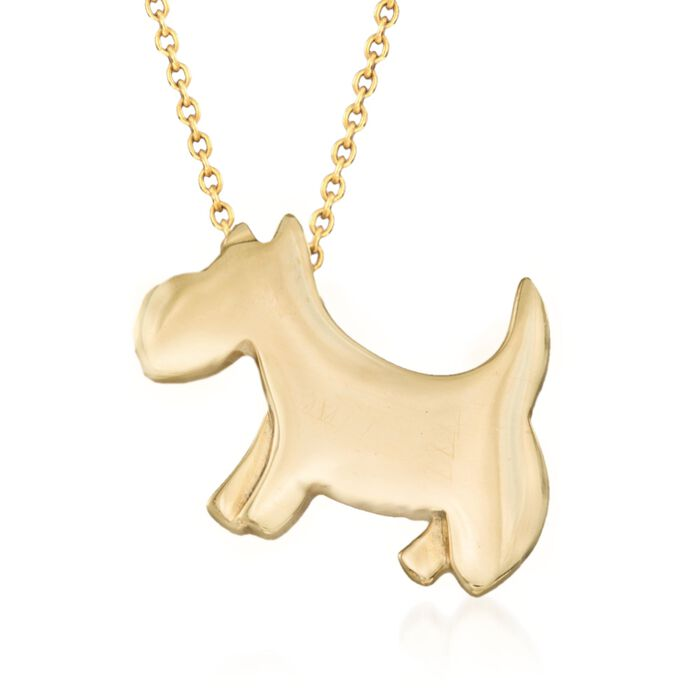"Roberto Coin Tiny Treasures 18-Karat Yellow Gold Scottie Dog Necklace. 16"", , default"
