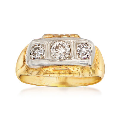 C. 1930 Vintage .65 ct. t.w. Diamond Ring in 10kt Two-Tone Gold