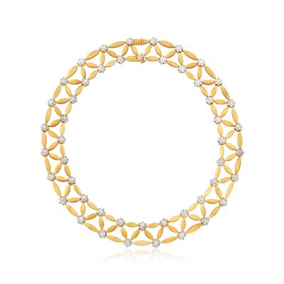 C. 1980 Vintage 7.50 ct. t.w. Diamond and 18kt Two-Tone Gold Lattice Necklace