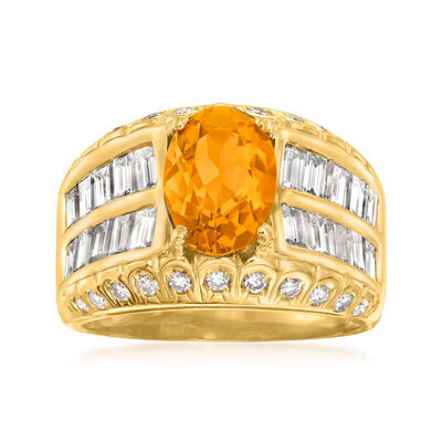 C. 1980 Vintage 2.35 Carat Citrine Ring with 2.32 ct. t.w. Diamonds in 18kt Yellow Gold