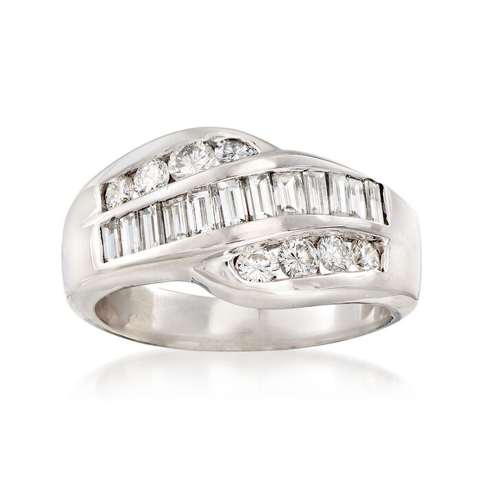 C. 1980 Vintage 1.10 ct. t.w. Diamond Crossover Ring in 14kt White Gold