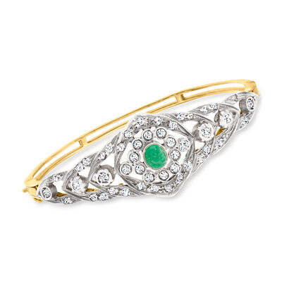 C. 1950 Vintage .65 Carat Emerald Bangle Bracelet with 1.40 ct. t.w. Diamonds in Sterling Silver and 14kt Yellow Gold