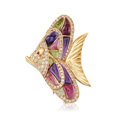 C. 1980 Vintage 2.50 ct. t.w. Diamond and Multi-Gemstone Fish Pin with Ruby Accents in 18kt Yellow Gold