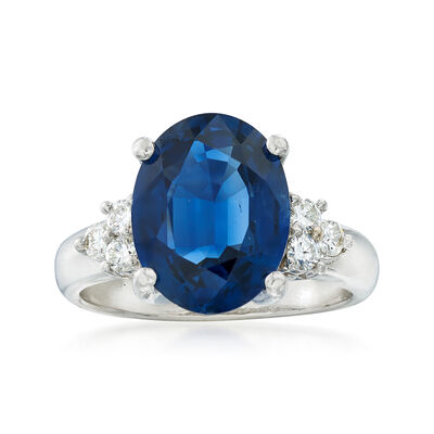 C. 1990 Vintage 3.67 Carat Sapphire and .20 ct. t.w. Diamond Ring in Platinum, , default