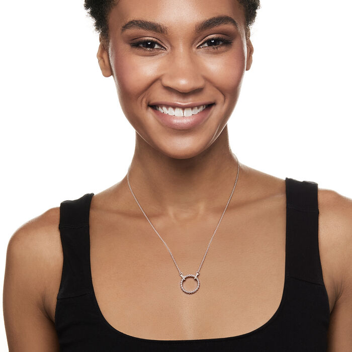 Gabriel Designs Sterling Silver Open-Circle Necklace with White Sapphire Accents