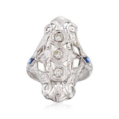 C. 1950 Vintage .20 ct. t.w. Diamond and .10 ct. t.w. Synthetic Sapphire Dinner Ring in 18kt White Gold, , default