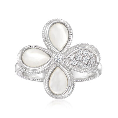 """Judith Ripka """"Jardin"""" Mother-Of-Pearl and .26 ct. t.w. Diamond Flower Ring in Sterling Silver"""