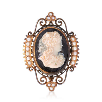 C. 1920 Vintage Black Agate Cameo Pin/Pendant with Seed Pearl in 14kt Yellow Gold