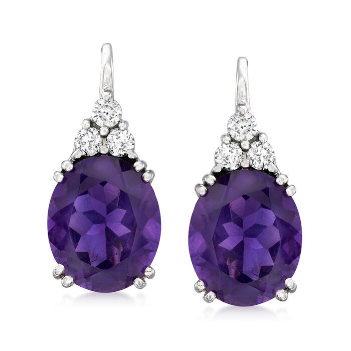 9.00 ct. t.w. Amethyst and .38 ct. t.w. Diamond Drop Earrings in 14kt White Gold
