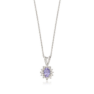C. 1990 Vintage .50 ct. t.w. Tanzanite and .20 ct. t.w. Diamond Flower Pendant Necklace in 14kt White Gold, , default
