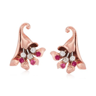 C. 1940 Vintage .50 ct. t.w. Synthetic Ruby and .40 ct. t.w. Diamond Flower Clip-On Earrings in 14kt Rose Gold