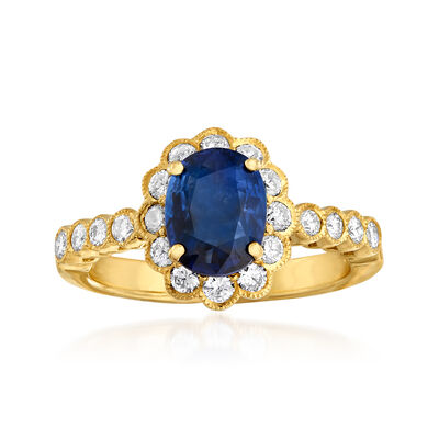 C. 1980 Vintage 1.54 Carat Sapphire and .51 ct. t.w. Diamond Ring in 18kt Yellow Gold