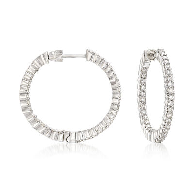 Gabriel Designs 1.05 ct. t.w. Diamond Inside-Outside Hoop Earrings in 14kt White Gold, , default