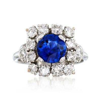 C. 1950 Vintage 1.57 Carat Sapphire and 1.45 ct. t.w. Diamond Ring in Platinum, , default