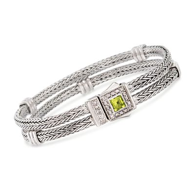 "Phillip Gavriel ""Woven"" .80 Carat Peridot and .50 ct. t.w. White Sapphire Station Link Bracelet in Sterling Silver, , default"