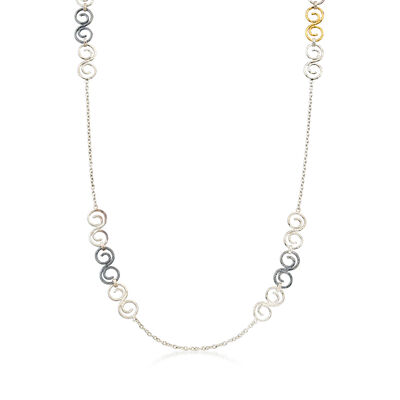 C. 1990 Vintage Sterling Silver and 24kt Yellow Gold Swirl Necklace