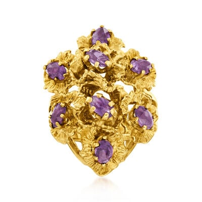 C. 1970 Vintage 2.00 ct. t.w. Amethyst Flower Cluster Ring in 14kt Yellow Gold