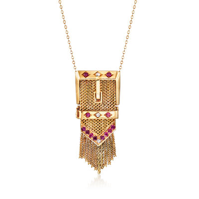 C. 1950 Vintage .95 ct. t.w. Ruby and .15 ct. t.w. Diamond Slide Buckle Pendant Necklace in 14kt Yellow Gold, , default