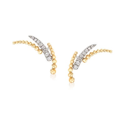 Gabriel Designs .14 ct. t.w. Diamond and Beaded Curve Earrings in 14kt Yellow Gold, , default