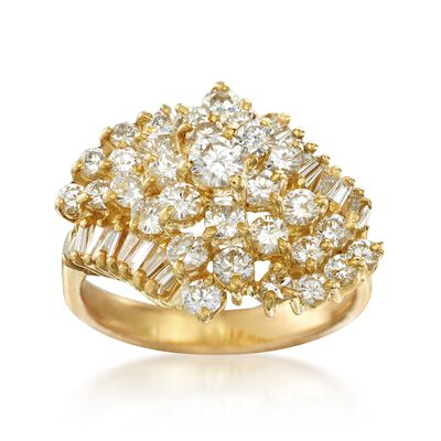 C. 1980 Vintage 2.10 ct. t.w. Diamond Cluster Ring in 18kt Yellow Gold, , default
