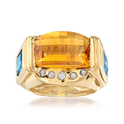 C. 1990 Vintage 7.90 Carat Citrine and 4.00 ct. t.w. Topaz with Diamond Accents in 18kt Gold, , default