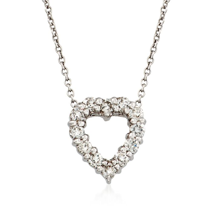 "Roberto Coin ""Tiny Treasures"" .26 ct. t.w. Diamond Heart Necklace in 18kt White Gold"
