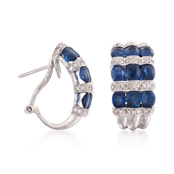 Sapphire and Diamond Hoops Gold  in 18-Karat White Gold, , default