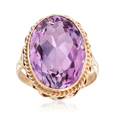 C. 1960 Vintage 11.00 Carat Amethyst Ring in 14kt Yellow Gold, , default