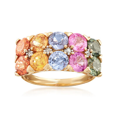 C. 1990 Vintage 6.08 ct. t.w. Multicolored Sapphire Double-Row Ring in 14kt Yellow Gold, , default