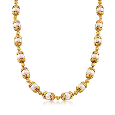 C. 1990 Vintage Pearl Necklace in 18kt Yellow Gold, , default