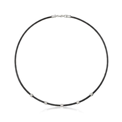 "ALOR ""Noir"" .34 ct. t.w. Diamond Station Black Cable Necklace with 18kt White Gold, , default"