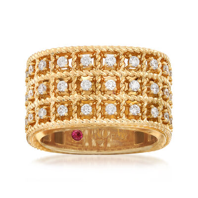 "Roberto Coin ""Barocco"" .62 ct. t.w. Diamond Three-Row Ring in 18kt Gold, , default"