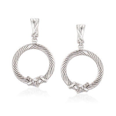 "Phillip Gavriel ""Italian Cable"" Sterling Silver Drop Earrings, , default"